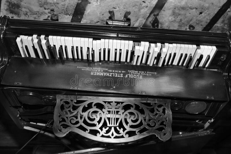 Black and white ceiling piano royalty free stock image