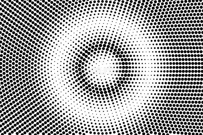 Black white centered dotted gradient. Half tone background. stock illustration