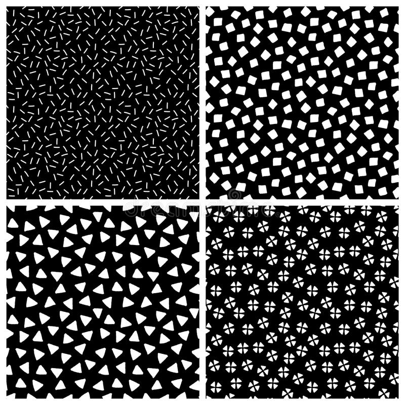 Black and white chaotic ethnic geometric seamless patterns set, vector stock illustration