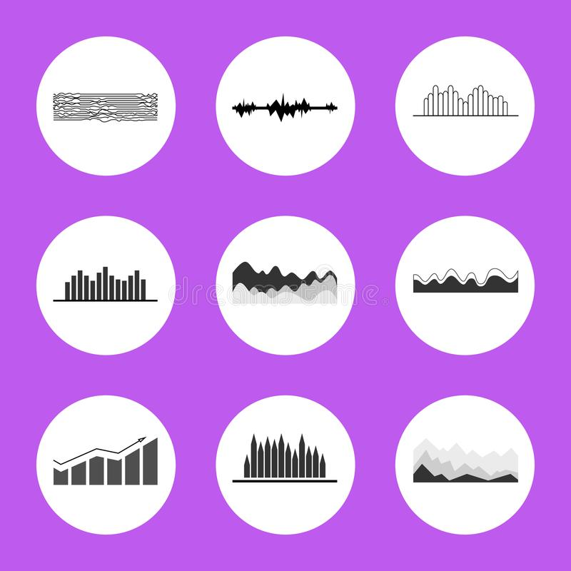 Black and White Charts and Graphics in Circles. Flat vector illustrations on purple background. Visual presentation of data royalty free illustration