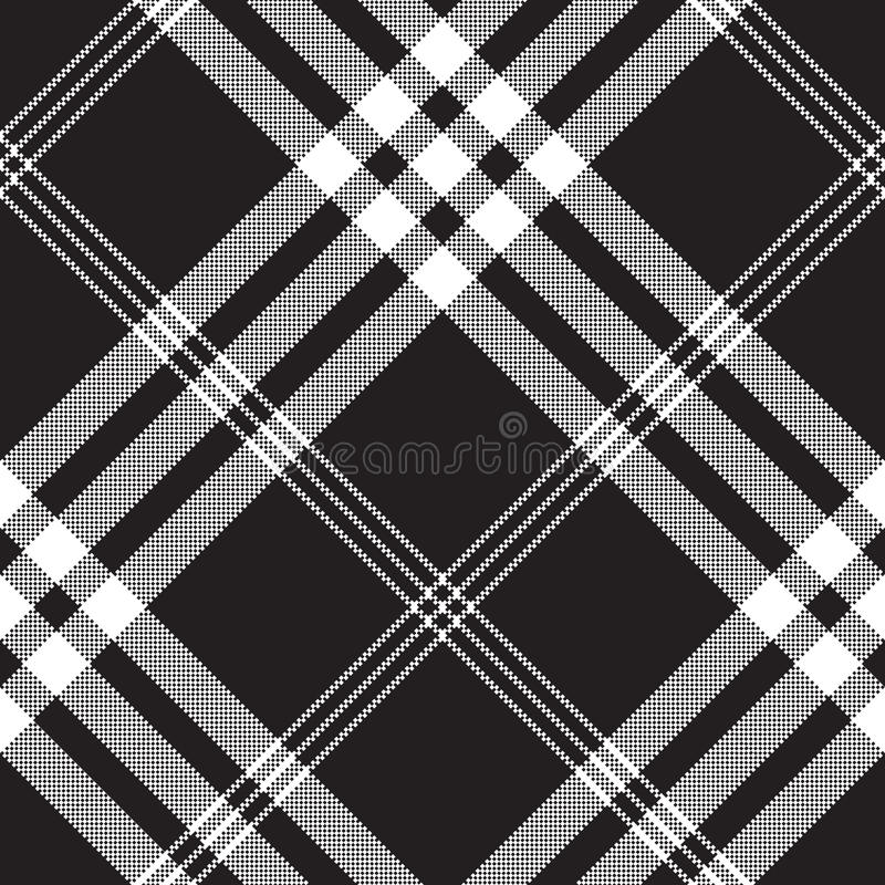 Black and white check pixel square fabric texture seamless vector illustration
