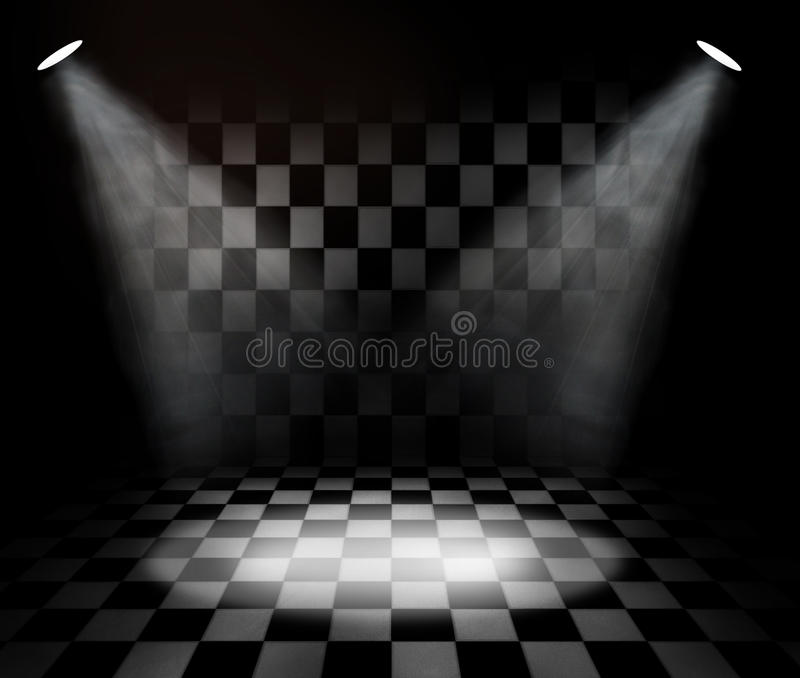 Black And White Check Room Stock Photo