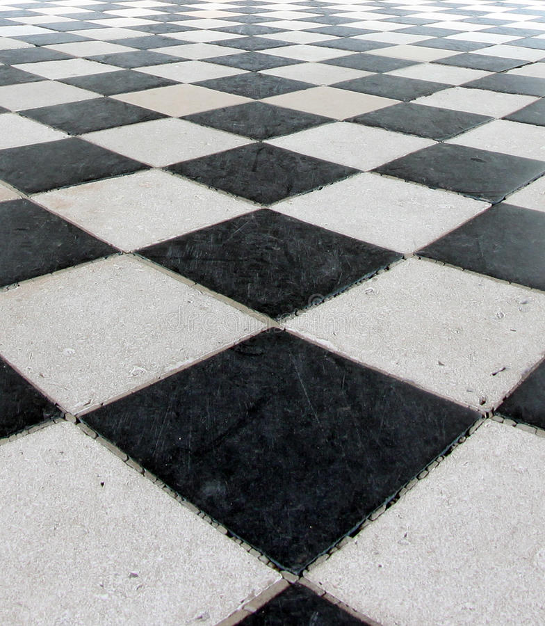 Black and White Checker Floor Tile Pattern royalty free stock image