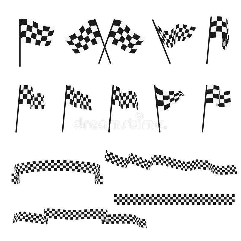 Black and white checkered auto racing flags and finishing tape vector set stock illustration