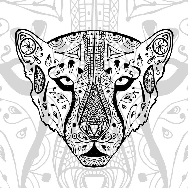 The black and white cheetah print with ethnic zentangle patterns. Coloring book for adults antistress. Art therapy. Zenart, meditaion. The image on the fabric vector illustration