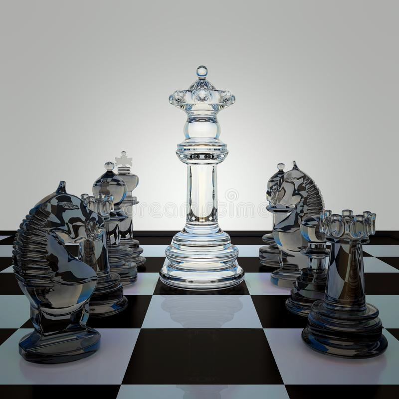 Black and white chess figures on chessboard. stock illustration