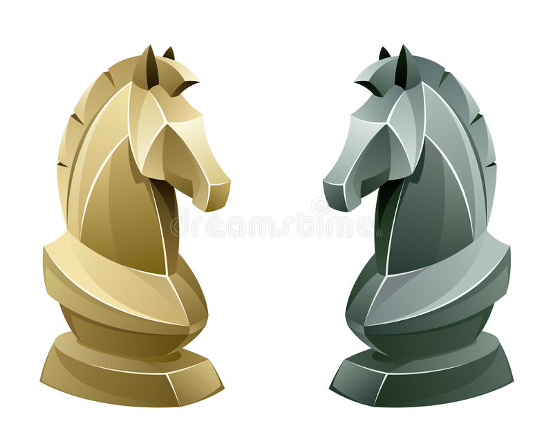Black and white chess knight royalty free illustration