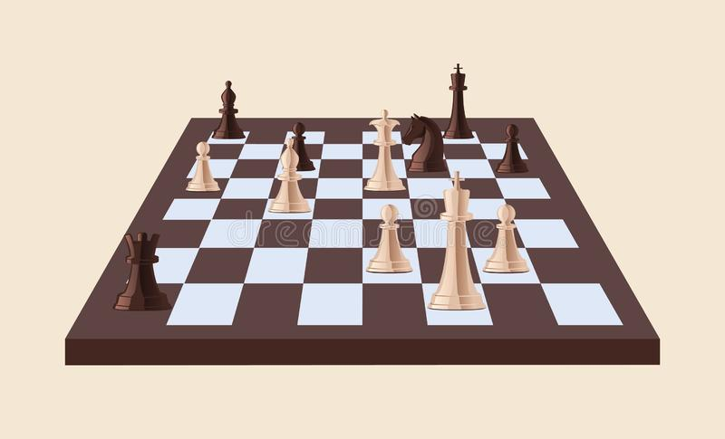 Black and white chess pieces on chessboard isolated on light background. Strategy game played on checkered board royalty free illustration