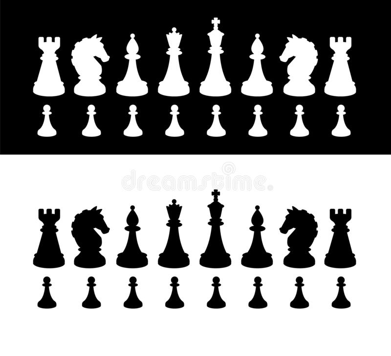 Black and white chess pieces. Vector silhouettes. The image is isolated from the background. Figures for playing chess. The vector illustration