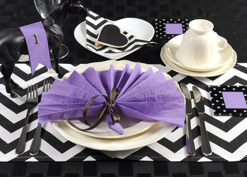 Black And White Chevron With Purple Theme Party Luncheon Table Stock ...