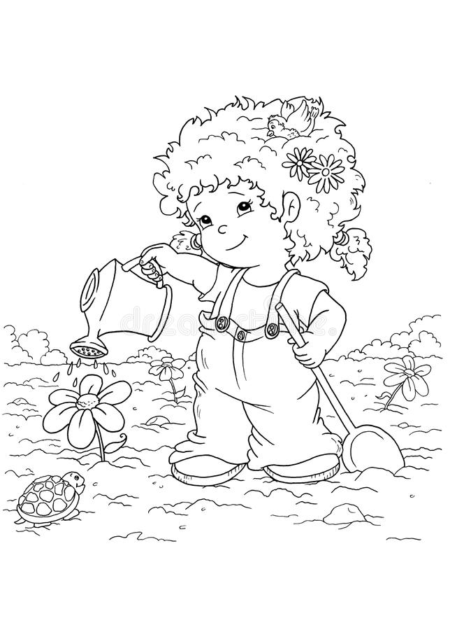 Download Black And White - Child In Garden Stock Illustration - Image: 12824179