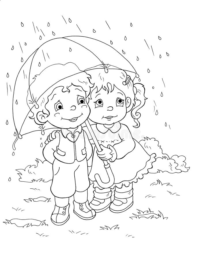 black and white children and the rain stock illustration illustration of children tenderness 12744009 rain stock illustration illustration