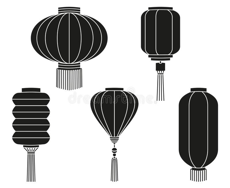 Black white chinese lantern silhouette collection vector illustration