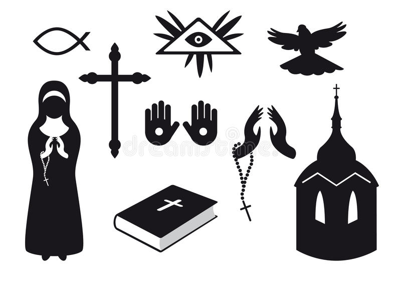 black and white religion icons stock vector
