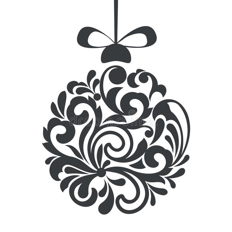 Black and white Christmas ball floral design royalty free illustration