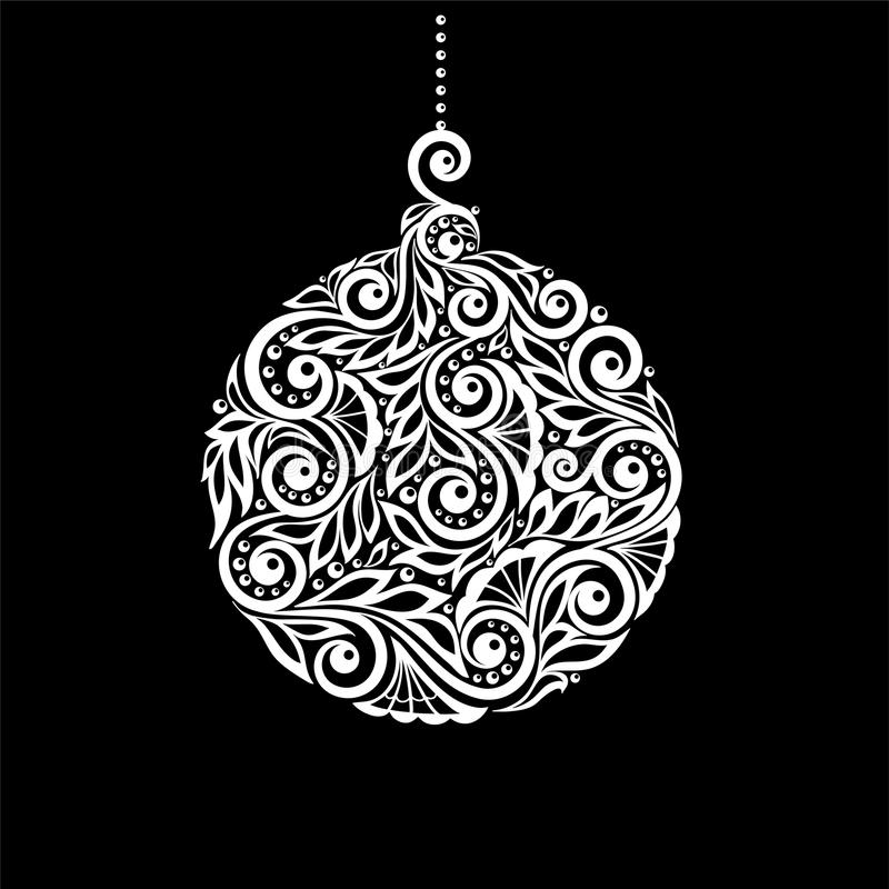 Black and White Christmas ball with a floral swirl flourishes stock illustration