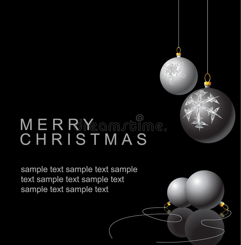 Black and white Christmas bulbs. With snowflakes ornaments on a black background stock illustration