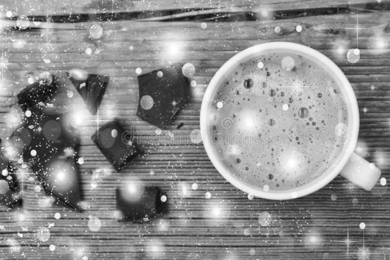 Black and white. Christmas.Concept: love chocolate chocolate, dessert, food, hot, piece, snack, sweet, royalty free stock photography