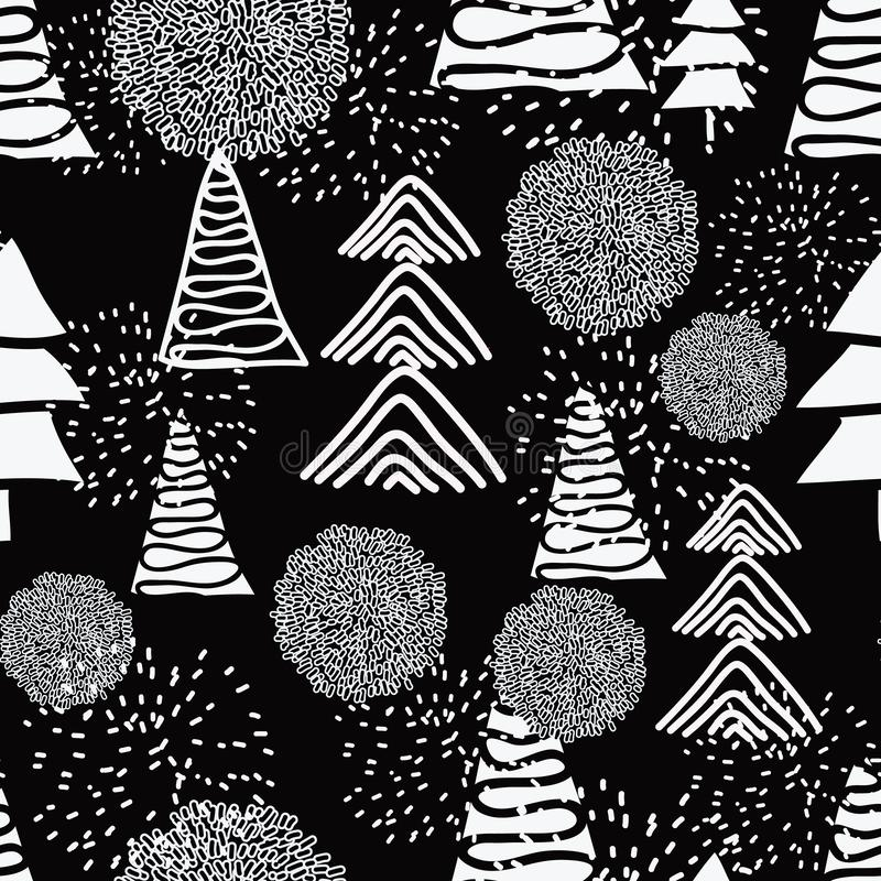 Black and White Christmas. Different white Christmas trees on black background, white snow balls, bobbles, pom poms and firewroks. Seamless repeating pattern royalty free illustration