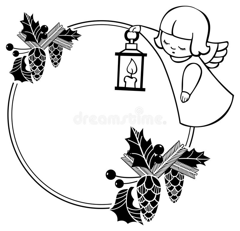 Black and white Christmas frame with cute angel. Copy space. Christmas holiday background. Raster clip art stock illustration