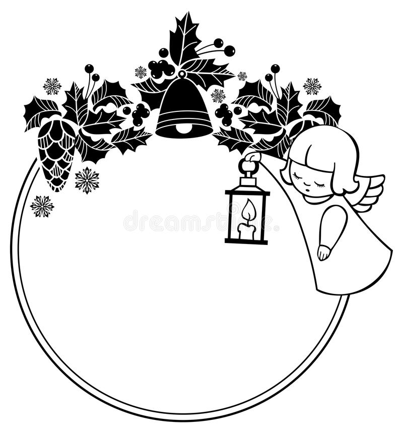 Black and white Christmas frame with cute angel. Copy space. Christmas holiday background. Raster clip art royalty free illustration