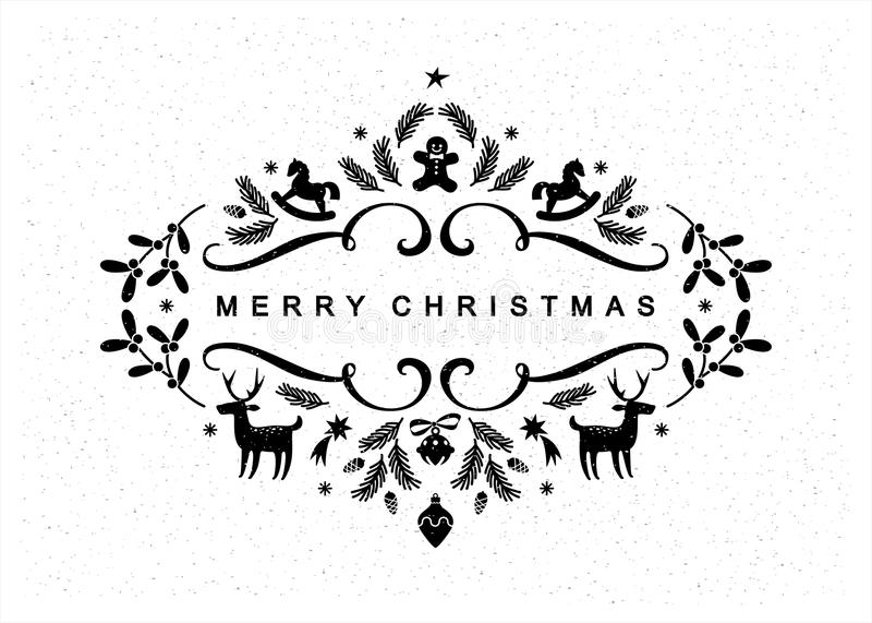 Black and White Christmas Postcard stock photography