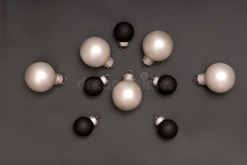 Black and white christmas-tree decorations royalty free stock photography