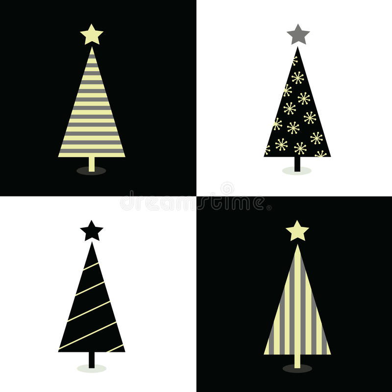 Black and white christmas trees stock illustration
