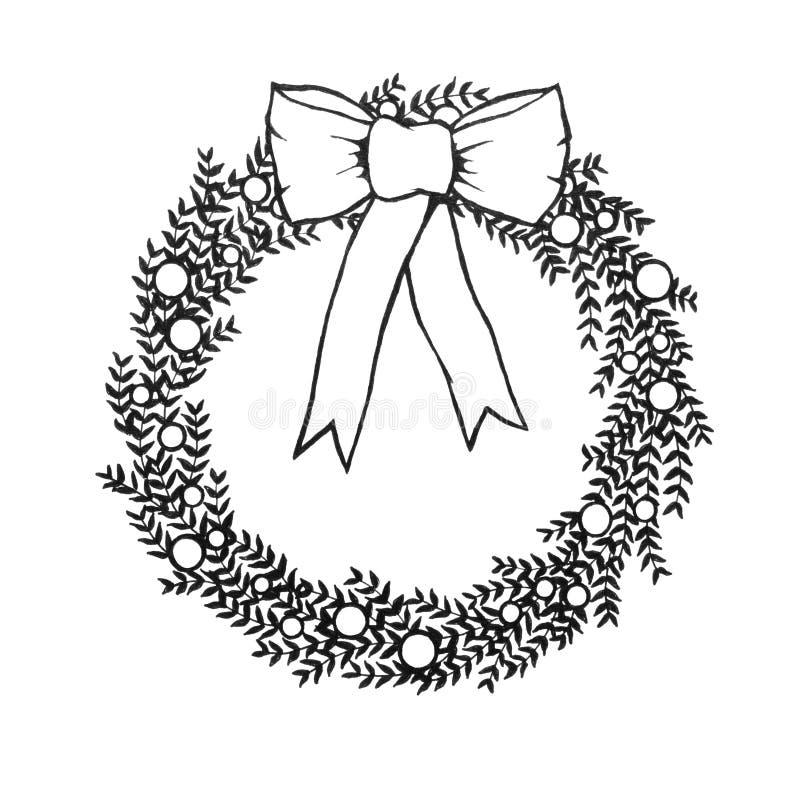 Black And White Christmas Wreath With Bow, Hand Drawn Illustraiton Stock Illustration - Image ...