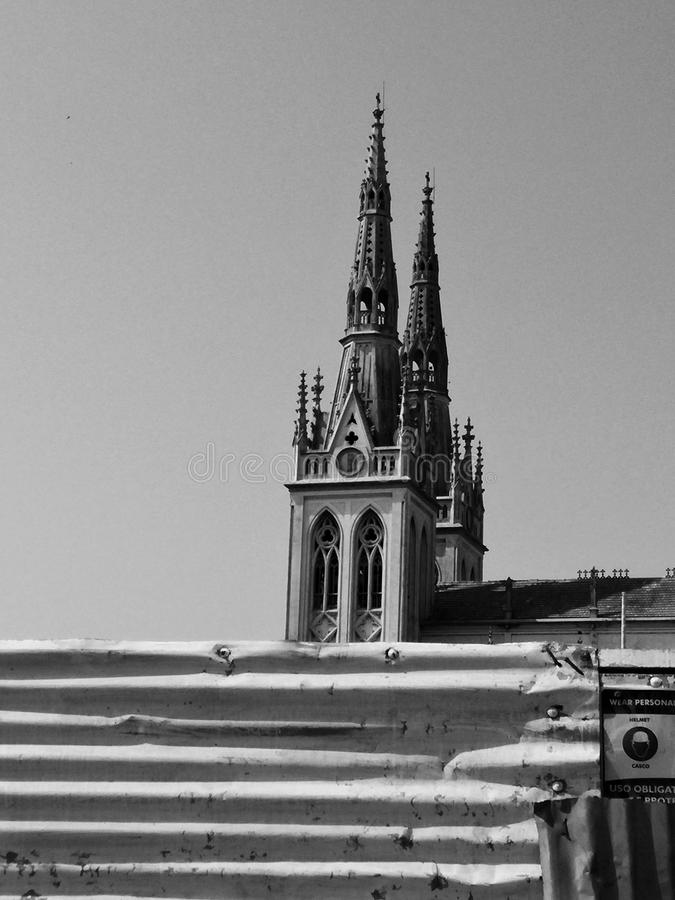 Gothic style church (San Roque) in Barranquilla Colombia. Black and white beautiful gothic style church under construction (architectural reform&# royalty free stock photos