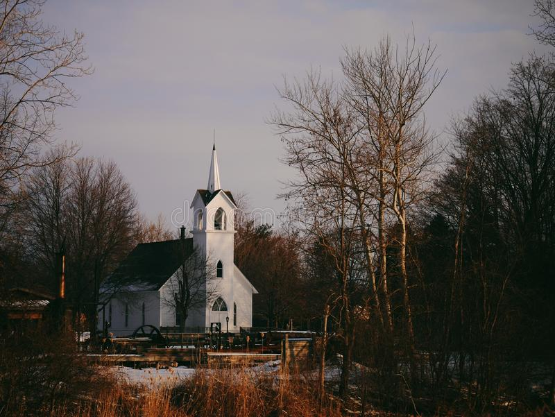 Black And White Church In The Middle Of Trees Under The Blue Sky Free Public Domain Cc0 Image