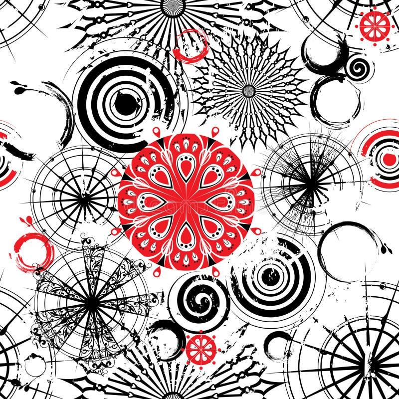 Black and white circles seamless grunge background. Vector Seamless grunge background with decorative openwork black, white and red circles