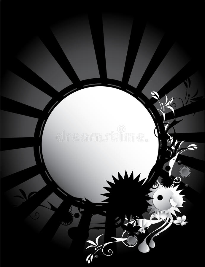 Black White circular frame background vector illustration