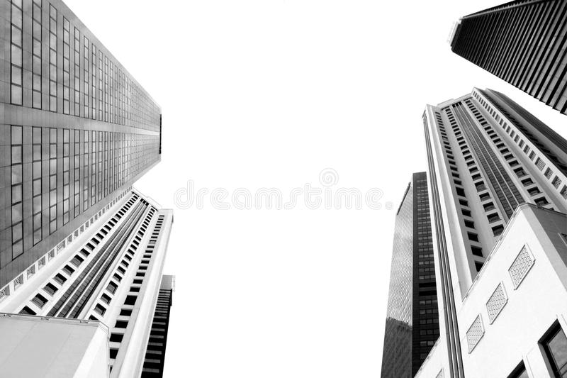 Black and white city building, skyscraper perspective isolated on white. Black and white city building, high tower banner, skyscraper perspective isolated on royalty free stock photo