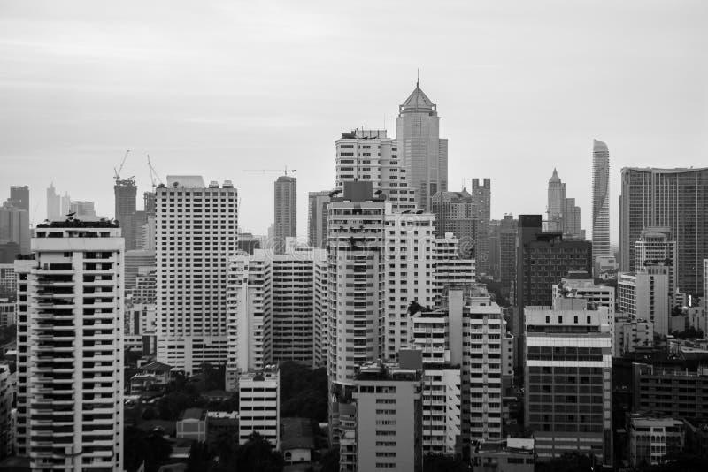 Black and white of cityscape image bangkok, thailand stock photo