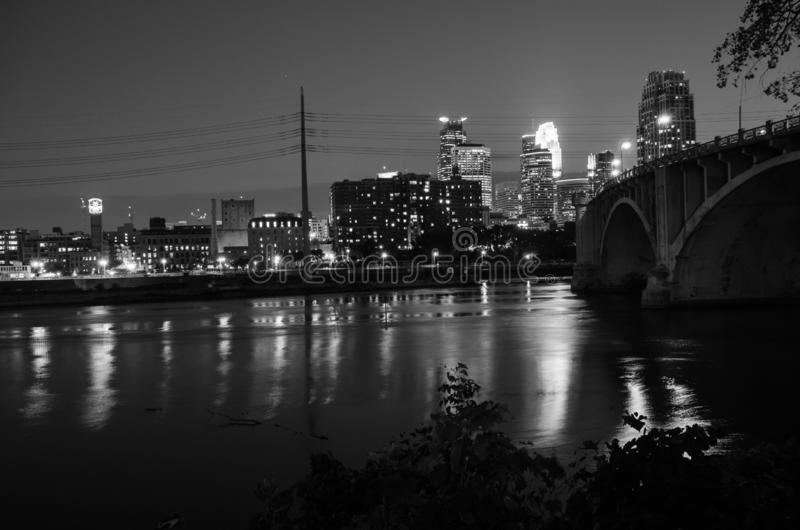 Black and White cityscape skyline of Downtown Minneapolis Minnesota in the Twin Cities Metro area royalty free stock photos