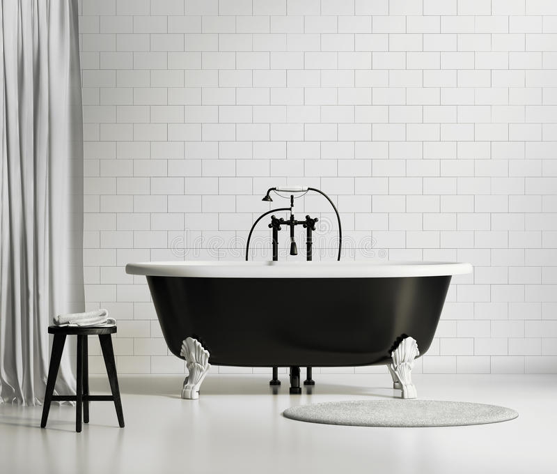 Black and white classic bathtub royalty free stock photography