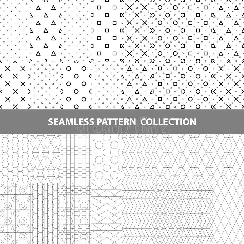 Black White Classic Line Zigzag Vector Abstract Geometric Seamless Pattern Design Collection royalty free stock photo