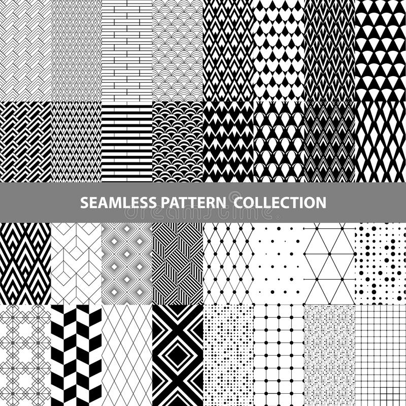 Black White Classic Line Zigzag Vector Abstract Geometric Seamless Pattern Design Collection stock photos