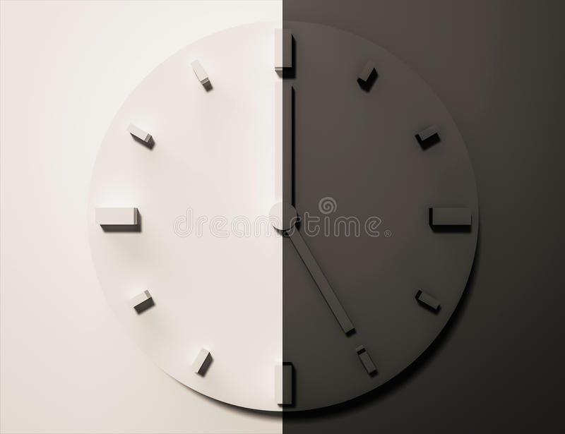 Black and white clock, 3d rendered, day and night. Black and white clock, 3d rendered. day and night royalty free illustration