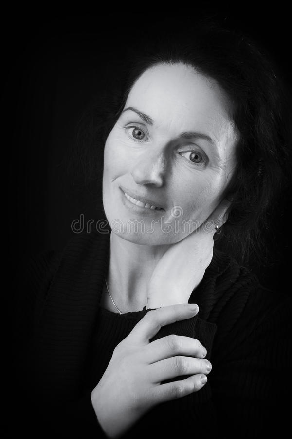 Black and white close-up portrait picture of an irish womans face stock photos