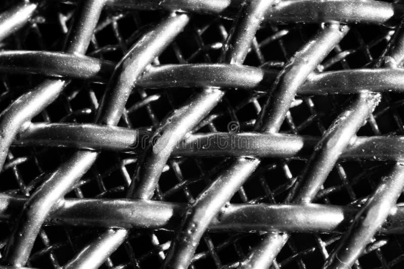 Black and white close up shot of microphone mesh. Macro details of metallic netting royalty free stock image