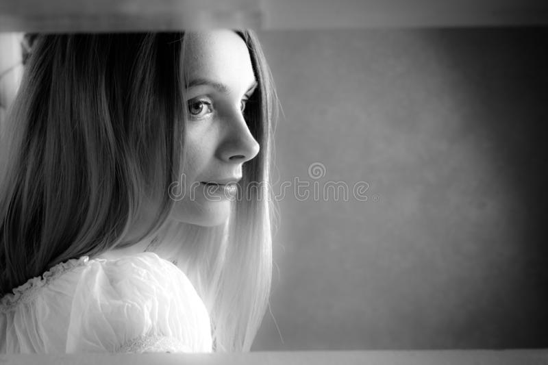 Black and white closeup girl portrait royalty free stock photography
