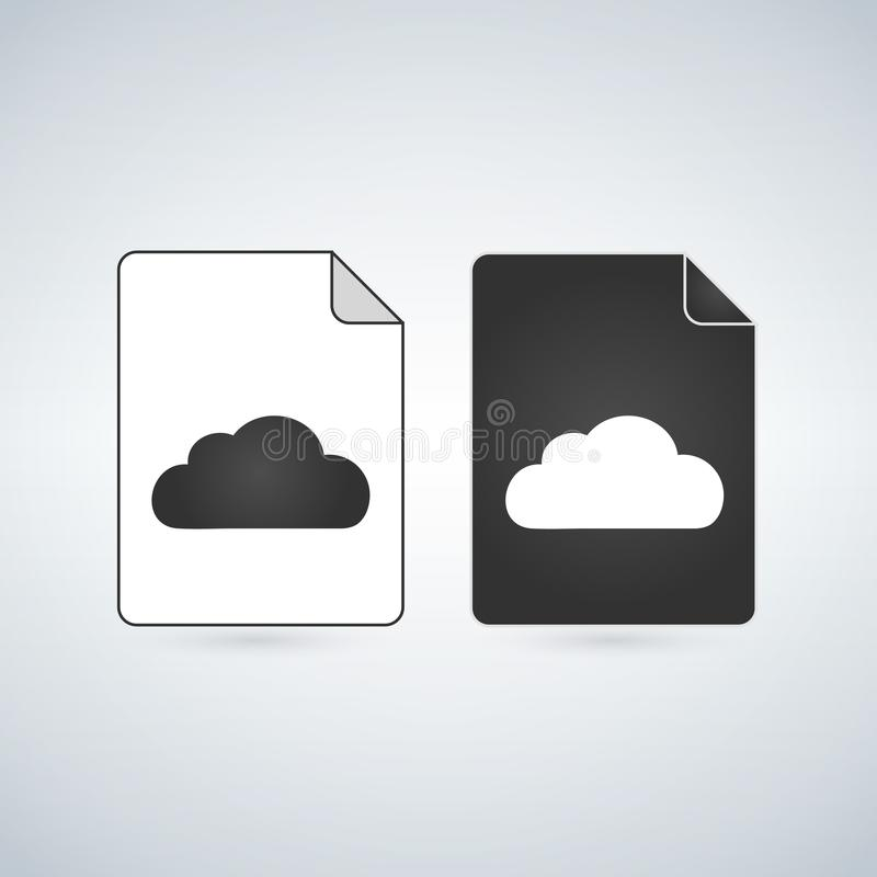 Black and white Cloud File Icon, vector illustration isolated on white background. Black and white Cloud File Icon, vector illustration isolated on white stock illustration