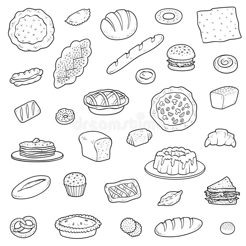Black and white collection about bread bakery products. Vector set of cartoon pastry and baked goods vector illustration