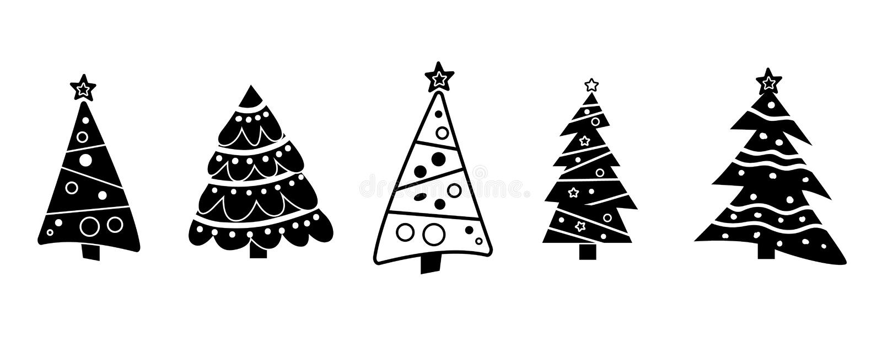 Christmas Tree Isolated Black Stock Illustration Illustration Of
