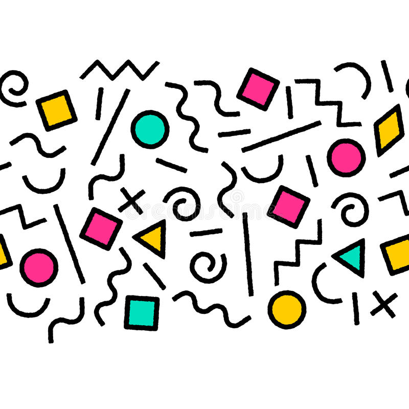 Black and white and colorful memphis abstract geometric shapes seamless border, vector stock illustration