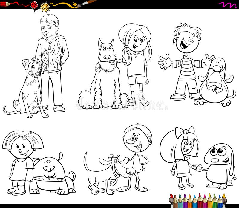 Children And Dog Characters Color Book Stock Illustration ...