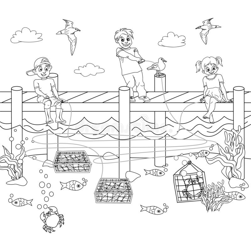 Black and white coloring of children catching crabs, and Logic puzzle game with Maze, Or Labyrinth. Two boys and one girl are stock illustration