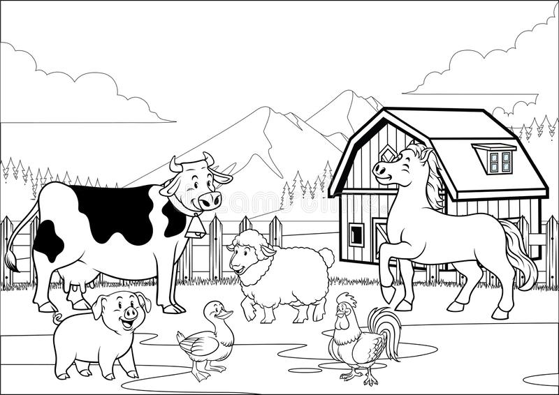 Black and white coloring page happy farm animals gathering royalty free illustration